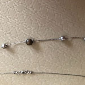 """36"""" Necklace with Brown & Silver Beads, Lobster Cl"""